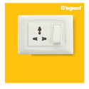 6a White Legrand Britzy Modular Switches, 230 V, Finishing Type: Glass Finish