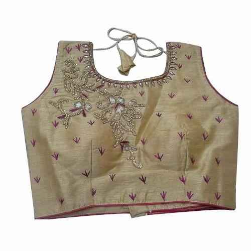 30e53797f93b92 Silk Sleeveless Ladies Embroidered Blouse