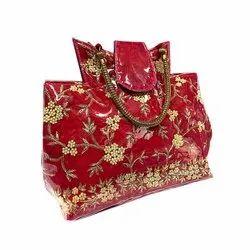 Silk Red Embroidered Handbag