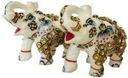 Marble Elephant Gold Stone Work Item