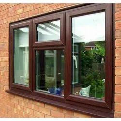 Brown UPVC Glass Casement Window, Glass Thickness: 5 Mm
