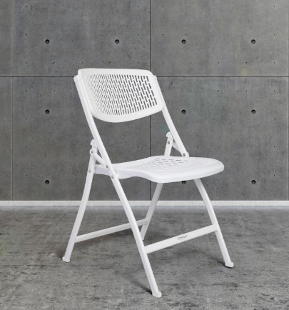 Comfold Foldable Resin And Metal Mesh Chair White