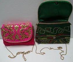 Female Multicolor Gota Patti Embroidery Bandhej Sling Bag, Size: 9