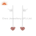 Natural Bio Tourmaline Gemstone Fine Silver Designer Earrings