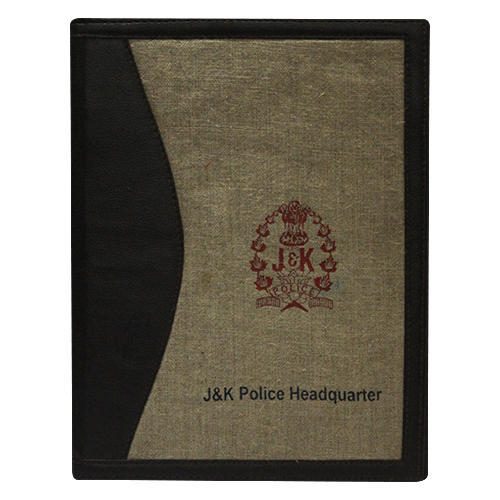 Black and Brown Jute Folders With Leatherite