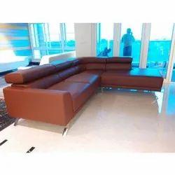 L Shape Brown 3 Seater Corner Sofa Set, 7 Inch, Warranty: 8 Years