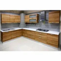 Modern L Shape Wooden Modular Kitchen