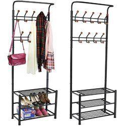 Heavy Duty 18 Hooks Coat Rack with 3-Tier Shoe Rack Shelves for Entryway Metal