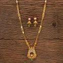 Antique Matte Gold South Indian Long Necklace 203531