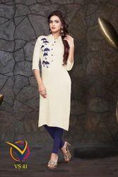 VandanShree Single Rayon Cotton Embroidery Kurti, Size: XXL