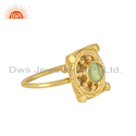 Peridot Gemstone Handmade Gold Plated Designer Silver Ring For Women's