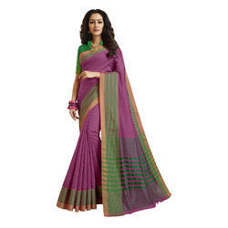 Purple color Chanderi Banarasi Cotton Weaving  Sari with Blouse Piece