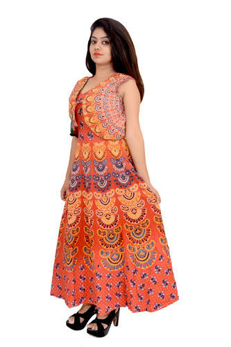 3b1ab78a41f Fashion Store Present Cotton Jaipuri Printed Dress With Jacket at Rs ...