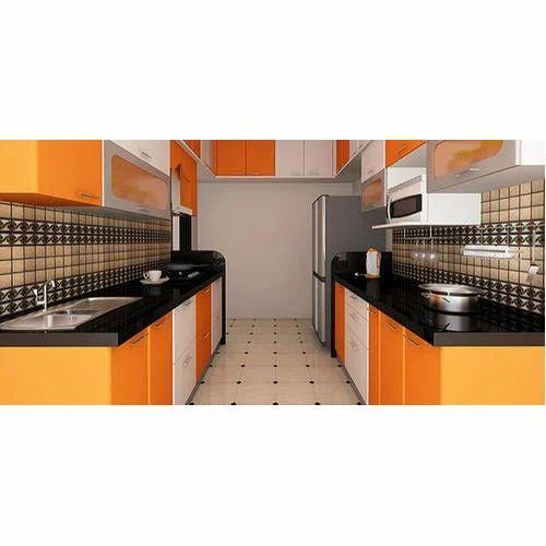Kube Wooden Parallel Modular Kitchen, Warranty: 1-5 Years
