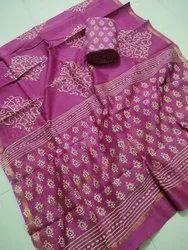 Female Chanderi Block Printed Dress Material, GSM :100-150