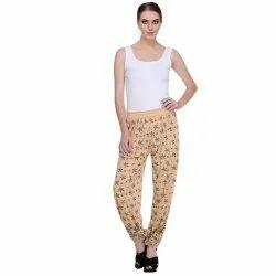 Ladies Nightwear Loungewear Beige Bottom Pyjama, Length: 38 inch