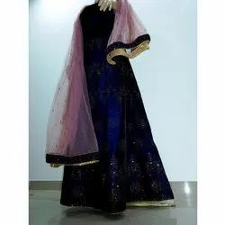 Ladies Navy Blue Semi-Stitched Embroidered Party Wear Gown With Dupatta