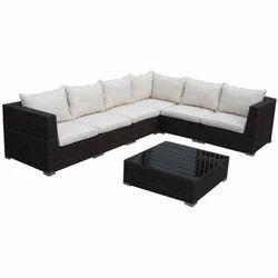 Wood L Shape Sofa Set