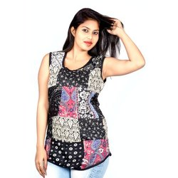 Multicolor Round Neck Girls Printed Sleeveless Patch Work Top