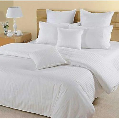 Plain White Satin Stripe Bed Sheet