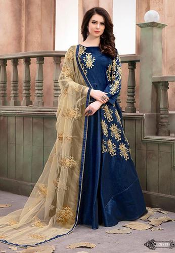 b55dd542d Silk Full Sleeves Black Designer Anarkali Gown