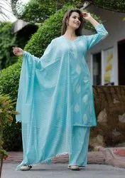 Sanganeri Block Print 3-Piece Stiched Suit  In Cotton