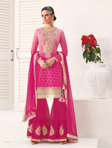 Georgette and Net Embroidered Jinaam Maleeka Suits with Palazzo Bottom