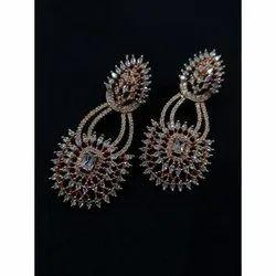 Stylish Party Wear Artificial Brass Earrings