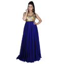 Georgette Sleeveless Resham And Dori Work Gown, Size: S-xl