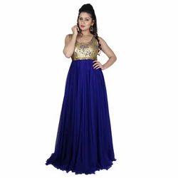 Georgette Sleeveless Resham and Dori Work Gown, Size: S-XL