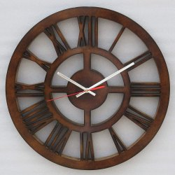 Brown Wood Carving MDF Round Analogue Wall Clock, Size: 40 X 2.5 X 40 Cm