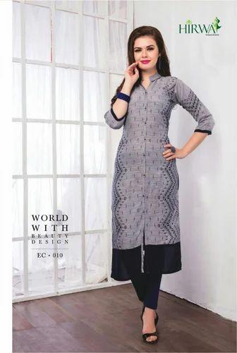 b31c2e0b18 Designer Kurti - Rayon Printed Ladies Kurtis Manufacturer from Surat