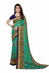 FLOVIZONE HUB Bollywood Georgette Printed Saree, 6 Mtr With Blause Piece