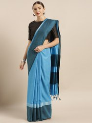 Sky Blue Solid Linen Blend Silk Saree with Blouse piece