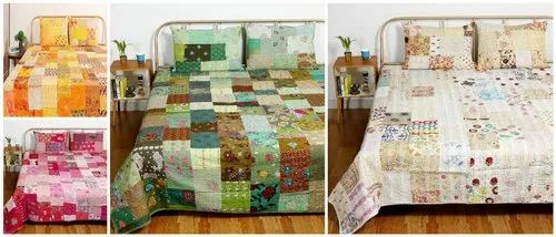 Khambadiya Patchwork Kantha Quilt with 2 PC Pillow Covers