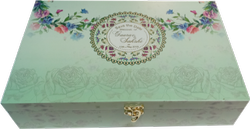 Front Open Velvet Wedding Invite Box In Flower Pattern, Size: 12,75x8.5x 2.75 Inches