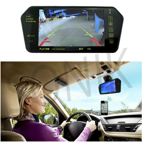 "7/"" HD TFT LCD Mp5//FM//USB Bluetooth Rear View Mirror Slot Car Monitor Support TF"