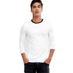 Cotton Pause White Solid Round Neck Slim Fit Full Sleeve Mens T-Shirt