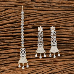 Women Dangle CZ Two Tone Plated Earring With Tikka 405612