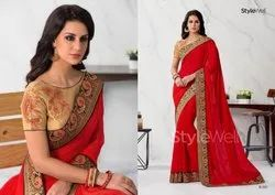 Munga Silk Saree With Light Gold Stonework & Jacquard Border