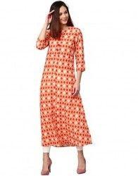 Women Orange Geometric A-Line Cotton Slub Kurta