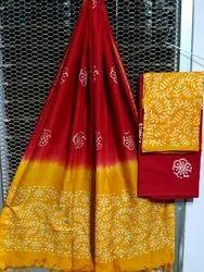 Printed Chanderi Silk Suit Material