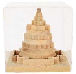 Kesar Zems Wooden Meru Prusth Shree Yantra (7.5 cm x 7.5 cm x 7.5 cm, Brown)