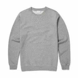 Plain Men''s Grey Round Neck Full Sleeve T Shirt