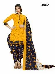 Rajnandini Yellow Cotton Printed Unstitched Dress Material