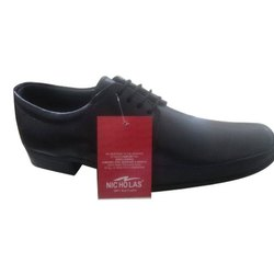 Formal Leather Mens Black Office Wear Shoes, Packaging Type: Box