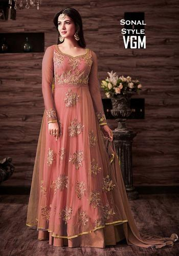 afd686b0371 Designer Net Party Wear Embroidery Work Anarkali Style ...