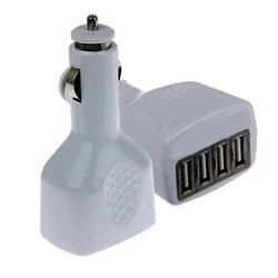 White 4 In 1 Car USB Charger