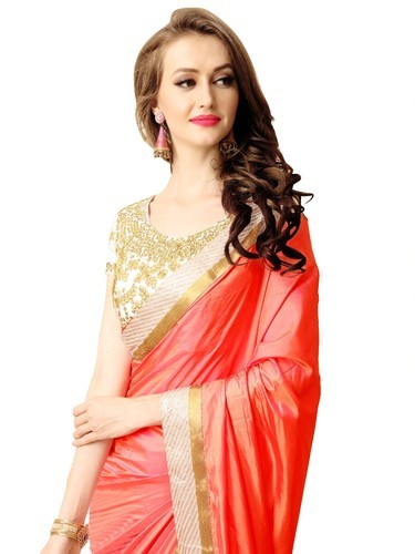 69647bae44 Paper Silk Bridal Wear Sweetlook Women's Red Georgette Saree, 550 ...