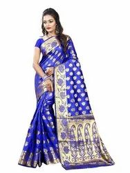 Self Yes Designer Banarasi Cotton Silk Sarees With Jacquard Work, Machine Made, Age Group: 20-40
